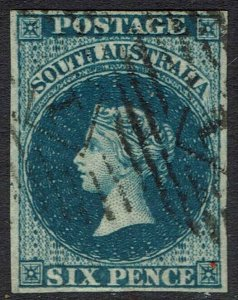 SOUTH AUSTRALIA 1855 QV 6D IMPERF LONDON PRINTING USED