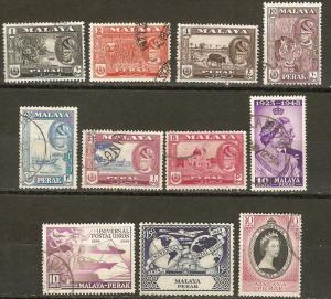 Malaya Perak 11 Dif Used VF 1948-53 SCV $7.75