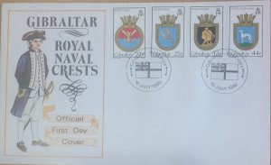 GIBRALTAR FIRST DAY COVER 1990 ROYAL NAVY CRESTS (9th series)