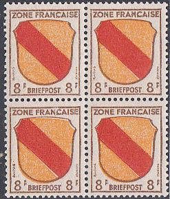 Germany - French Zone #4N4 MNH  Block of Four