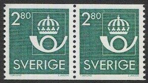 SWEDEN 1987 2.80o Coil Pair, Scott 1572, MNH VF, Crown/Post Horn