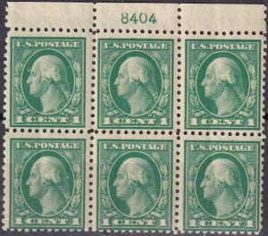 US #498  MNH Plate Block  CV $35.00 (A19935)