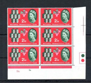 21/2d NPY (NON-PHOSPHOR) UNMOUNTED MINT CYLINDER BLOCK + GREEN COLOUR SHIFT