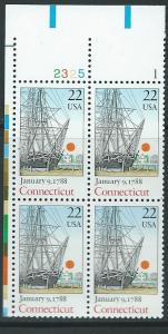 US #2340 $0.22 Connecticut Plate Block of 4 (MNH) CV$2.75