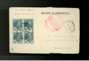 1930 Seville Spain Graf Zeppelin Mail postcard First FLight Cover to Brazil