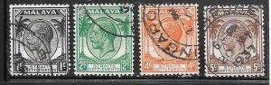 Malaya - Straight Settlements #217-221  (U) CV $2.20