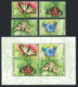 Moldova Butterflies and Moths 4v+MS SG#455-MS459 SC#440-443a