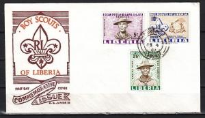 Liberia, Scott cat. 399-400, C135. Scouting issue on a First day cover.