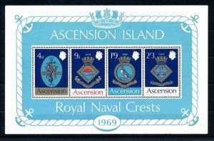 [47860] Ascension 1969 Royal naval crests Fish Birds Vögel Oiseaux MNH Sheet