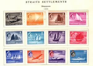 Singapore Scott 28-39 MH* QE2 1955 short set 12/15