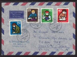 Germany to Sioux City IA 1974 Airmail Cover