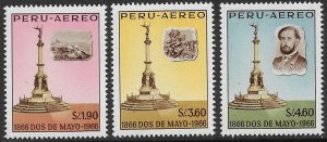 PERU 1966 100th Anniversary of NAVAL VICTORY Over Spain Airmail Set Sc C200-C202