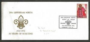 1972 UK Great Britain Boy Scouts 29th Lewisham Golden Jubilee cancel