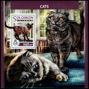HERRICKSTAMP NEW ISSUES SOLOMON ISLANDS Sc.# 2308 Cats Souvenir Sheet