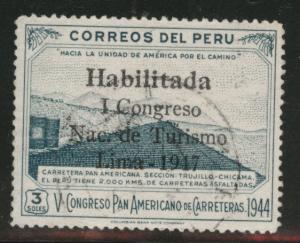 Peru  Scott 423 Used 1947 overprint stamp