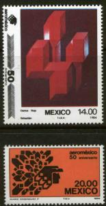 MEXICO 1362-1363, 50th Anniv of Aeromexico Airlines MINT, NH. VF.