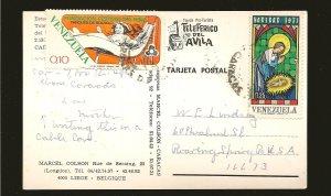 Venezuela 993 & 1050 on Postmarked 1973 to USA Postcard Used