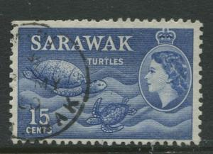 Sarawak -Scott 204 - QEII Definitives - 1955 - FU - Single 15c Stamp