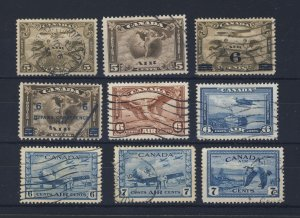 9x Canada Air Mail Used Stamps #C1 to C9 Most VF Guide Value = $63.00