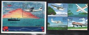 Palau # 94, C10-13 ~ Cplt Set, Block of Four & Souvenir Sheet ~ Mint, NH