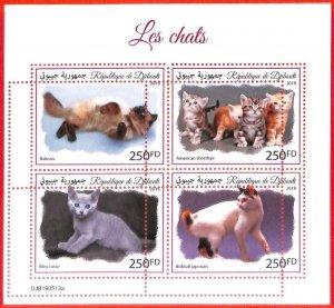 A3883 - DJIBOUTI - ERROR MISPERF, Miniature sheet: 2019, Cats, Kittens