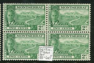 MONTSERRAT; 1950s early GVI issue fine Mint MNH 2c. Block of 4