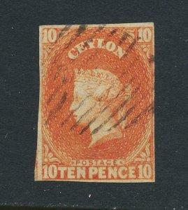 CEYLON 1859, 10d -4 MARGIN, VF USED SG#9 CAT£325 (SEE BELOW)