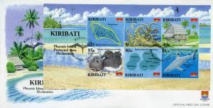 Kiribati Stamps 2008 FDC Phoenix Island Protected Area Birds Sharks 6v M/S
