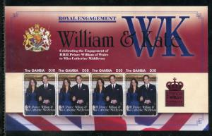 GAMBIA ENGAGEMENT OF PRINCE WILLIAM & KATE MIDDLETON  IMPERF SHEET II   MINT NH