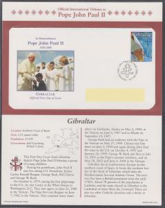 Official Tribute Stamps Pope John Paul II Gibraltar FDI  2005