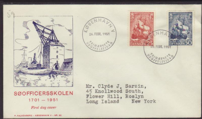 Denmark 327-328 Sailing Ship 1951 Typed FDC