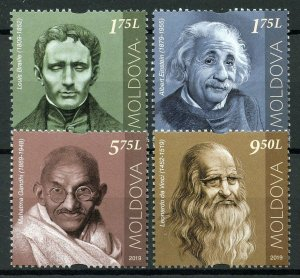 Moldova People Stamps 2019 MNH Einstein Gandhi Leonardo da Vinci Braille 4v Set