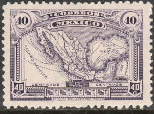 MEXICO 647, 40¢ MAP OF MEXICO MINT NH. F-VF.