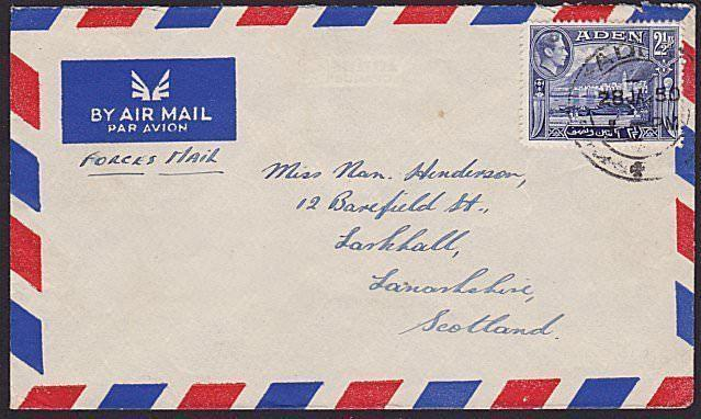 ADEN 1950 GVI 2½a Forces Mail rate airmail cover to Scotland................6636
