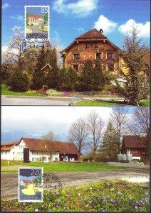 Liechtenstein 2005 Art Paintings Landscapes Architecture 2 Maxi Cards FDC