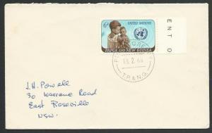 PAPUA NEW GUINEA 1966 cover 6d UN, PORT MORESBY cds...................25692