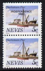 Nevis 1983 5c def (Charlestown Pier) vert pair with Indep...