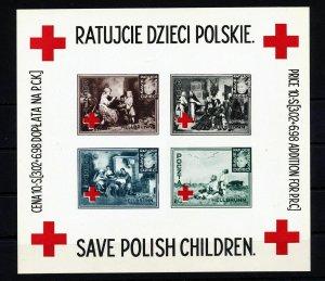 POLAND 1946 Red Cross Save Polish Children Sheet Unused (Del08)
