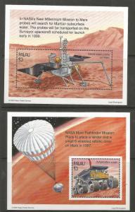 PALAU 411-412 MNH, SOUVENIR SHTS W/1 STAMP EACH, NASA'S MARS MISSION