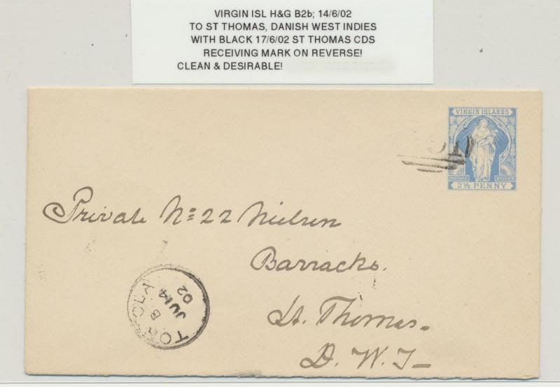 BRITISH VIRGIN IS 1902, 2½d ENVELOPE (H&G#B2b) TO ST THOMAS DANISH WEST INDIES