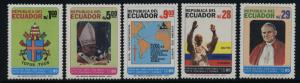 Ecuador 1066-71 MNH State Visit of Pope John Paul II, Crest,Map
