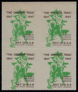 1947 Cinderella Poster Stamp Block of 4 Oregon Trail Centennial July 23-26 MNH
