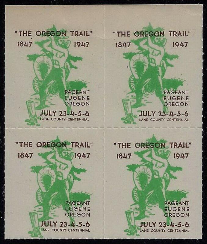 1947 Cinderella Poster Stamp Block of 4 Oregon Trail Centennial July 23-26 MNH