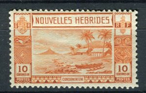FRENCH; NEW HEBRIDES 1938 early pictorial issue fine Mint hinged 10c. value