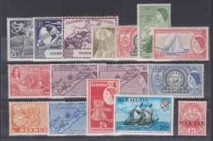Bermuda Sc 138/MR1 MLH. 1949-1976 issues, 16 different singles, F-VF