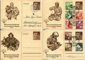 GERMANY Winter Help WHW Post Card Stationery Covers Special Cancellation 1938-39