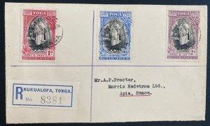 1938 Nuku'alofa Tonga Toga First Day Registered Cover to Apia Samoa