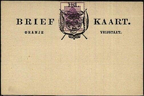 ORANGE FREE STATE 1½d on 2d on postcard opted Arms, unused.................19383