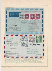 LUFTHANSA  2  EAST GERMAN AIRMAIL COVERS 1958 TO & FROM CHILE      R 2661