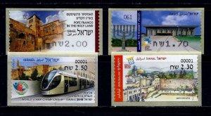 ISRAEL STAMPS JERUSALEM 4 VENDING MACHINE ATM LABELS KNESSET WESTERN WALL TRAIN